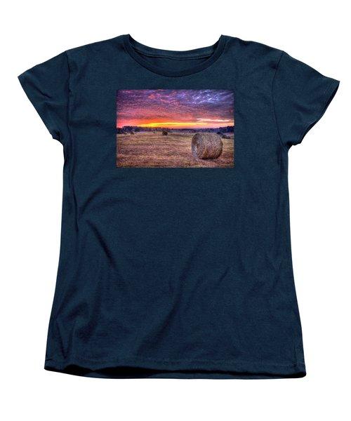 Women's T-Shirt (Standard Cut) featuring the photograph Before A New Day Georgia Hayfield Sunrise Art by Reid Callaway