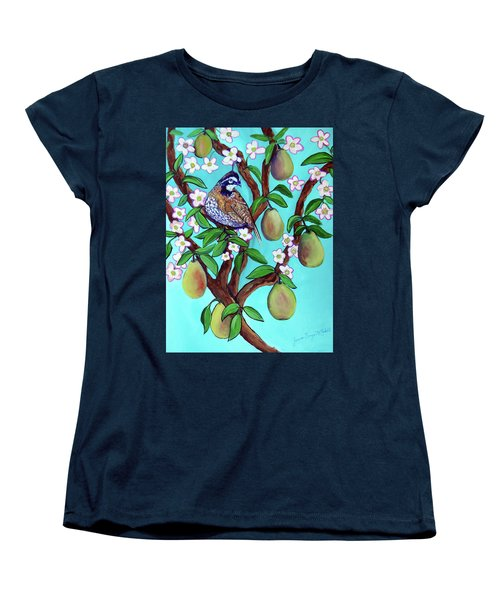 Women's T-Shirt (Standard Cut) featuring the painting A Partridge In A  Blooming Pear Tree by Ecinja Art Works