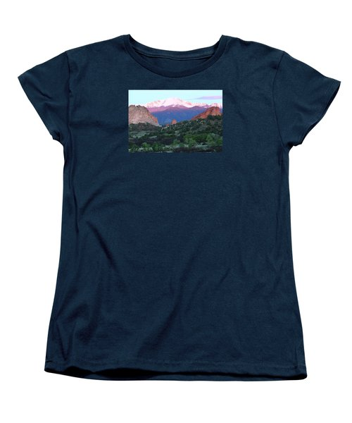 A Pikes Peak Sunrise Women's T-Shirt (Standard Cut) by Eric Glaser