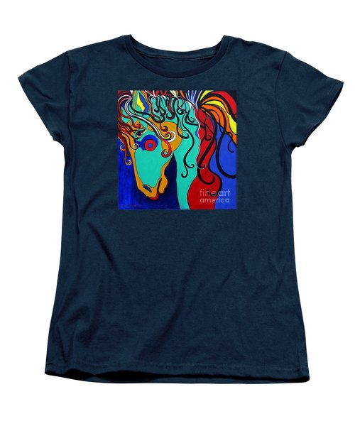 Women's T-Shirt (Standard Cut) featuring the painting A Rainbow Called Romeo by Alison Caltrider