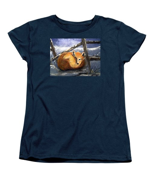 Women's T-Shirt (Standard Cut) featuring the painting A Safe Place To Sleep by Carol Grimes