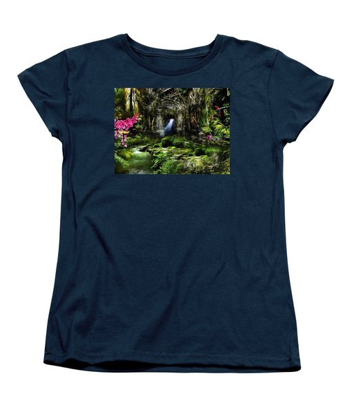 Women's T-Shirt (Standard Cut) featuring the mixed media A Secret Place by Gabriella Weninger - David