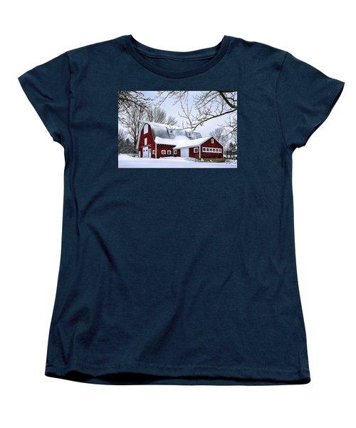 A Snowy Day At Grey Ledge Farm Women's T-Shirt (Standard Cut) by Betty Denise