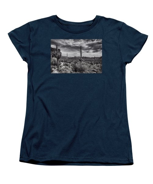 Women's T-Shirt (Standard Cut) featuring the photograph A Morning Hike In The Superstition In Black And White  by Saija Lehtonen