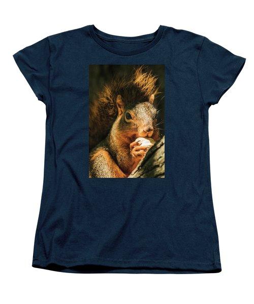 A Squirrel And His Nut Women's T-Shirt (Standard Cut) by Joni Eskridge