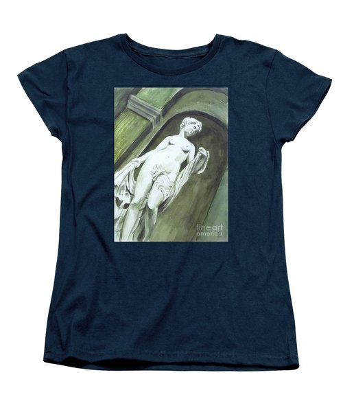 Women's T-Shirt (Standard Cut) featuring the painting A Statue At The Toledo Art Museum - Ohio by Yoshiko Mishina