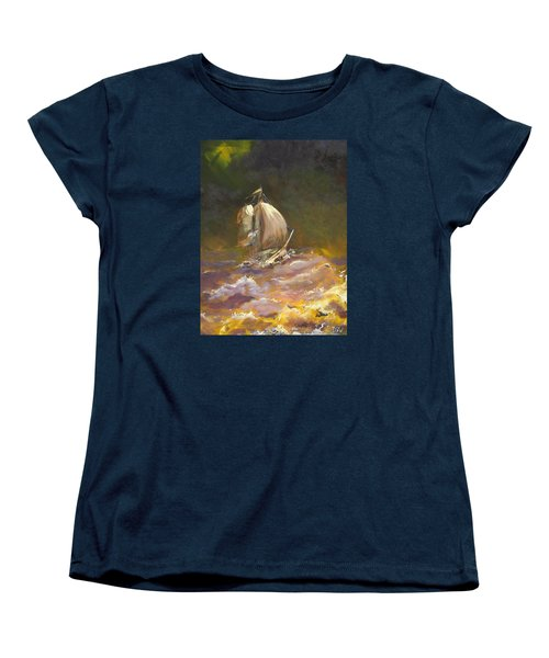 A Stormy Night At Sea Women's T-Shirt (Standard Cut) by Dan Whittemore