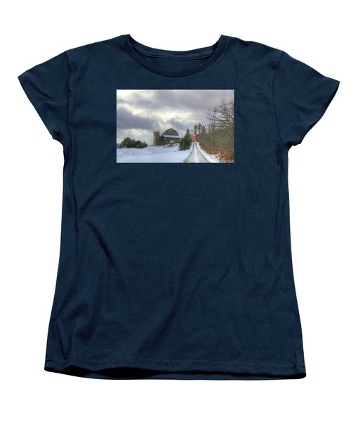 Women's T-Shirt (Standard Cut) featuring the photograph A Touch Of Snow by Sharon Batdorf