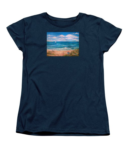 Women's T-Shirt (Standard Cut) featuring the painting A Walk In The Sand by Dee Davis