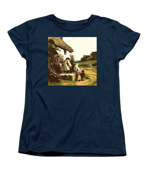 Women's T-Shirt (Standard Cut) featuring the drawing A Walk With The Grand Kids by Digital Art Cafe