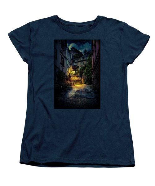 Women's T-Shirt (Standard Cut) featuring the photograph A Wet Evening In Marburg by David Morefield