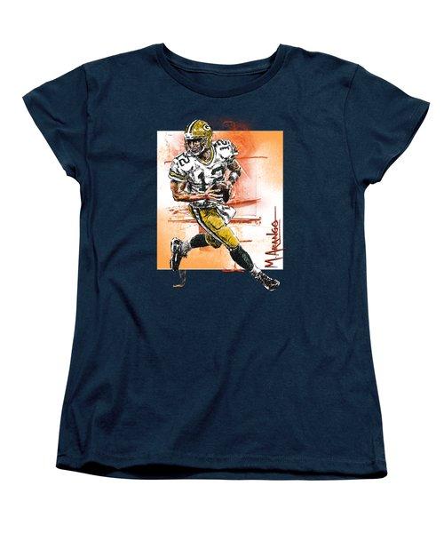 Aaron Rodgers Scrambles Women's T-Shirt (Standard Cut) by Maria Arango