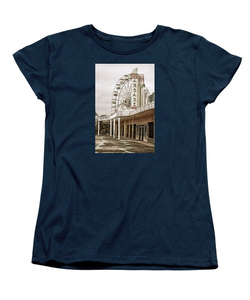 Women's T-Shirt (Standard Cut) featuring the photograph Abandoned Arcade And Ferris Wheel by Andy Crawford