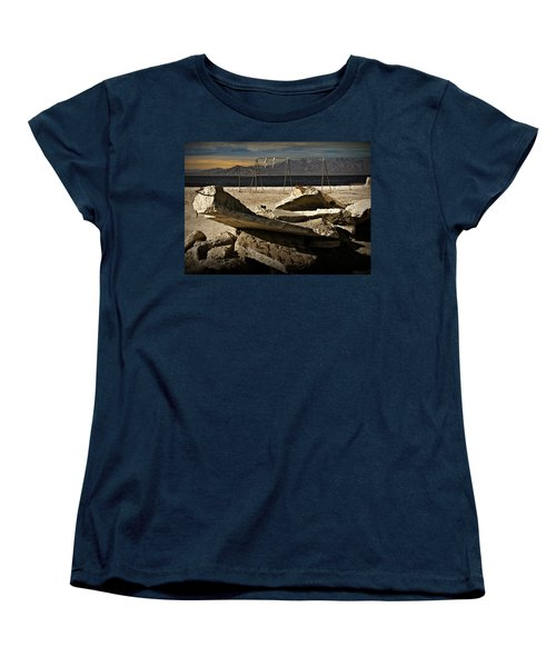 Women's T-Shirt (Standard Cut) featuring the photograph Abandoned Ruins On The Eastern Shore Of The Salton Sea by Randall Nyhof