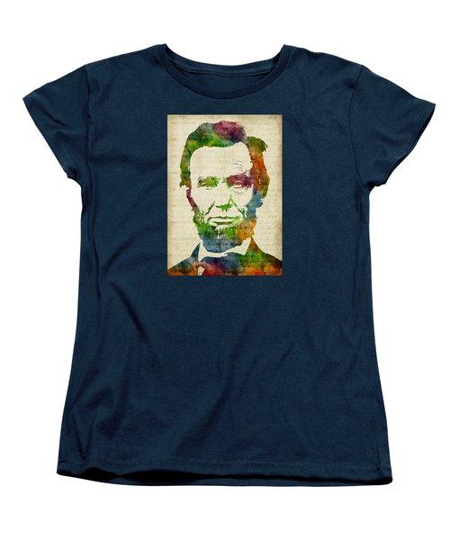 Abraham Lincoln Watercolor Women's T-Shirt (Standard Cut) by Mihaela Pater