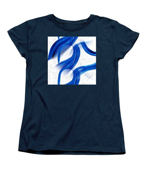 Abstract Acrylic Painting Blues Series 2 Women's T-Shirt (Standard Cut) by Saribelle Rodriguez