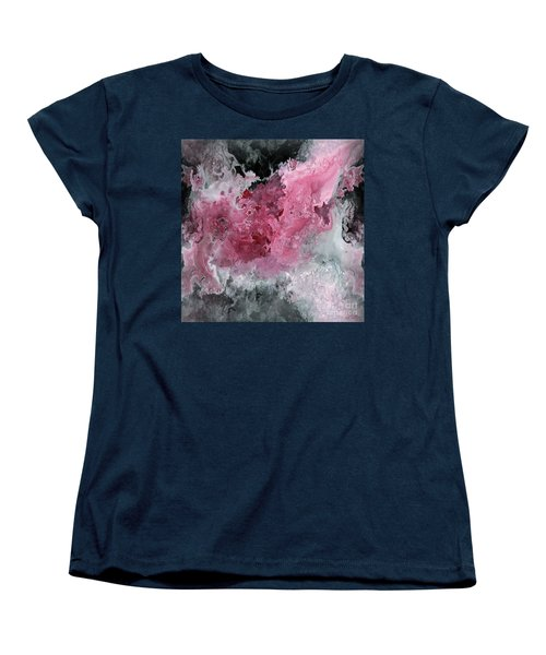 Abstract Acrylic Painting Red Black And White Women's T-Shirt (Standard Cut) by Saribelle Rodriguez
