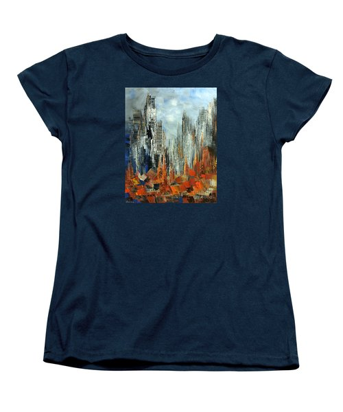 Women's T-Shirt (Standard Cut) featuring the painting Abstract Autumn by Tatiana Iliina