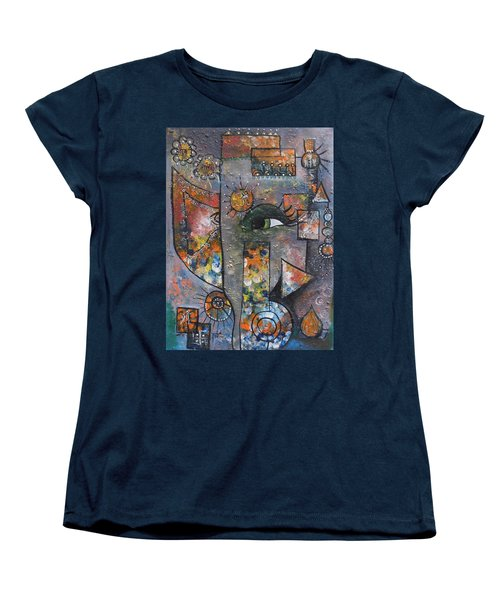 Women's T-Shirt (Standard Cut) featuring the painting Abstract Ganesha  by Prerna Poojara