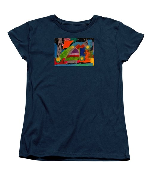 Women's T-Shirt (Standard Cut) featuring the drawing Abstract No. 7 Inner Landscape by Maria  Disley