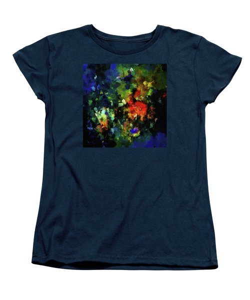 Women's T-Shirt (Standard Cut) featuring the painting Abstract Painting In Dark Blue Tones by Ayse Deniz