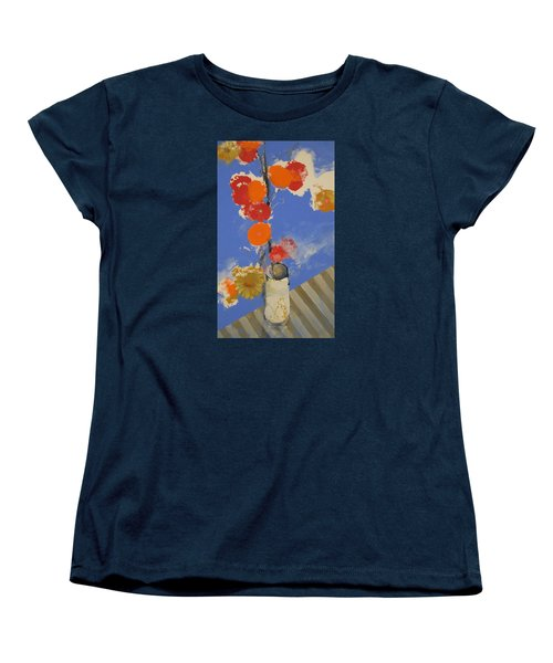 Women's T-Shirt (Standard Cut) featuring the painting Abstracted Flowers In Ceramic Vase  by Cliff Spohn