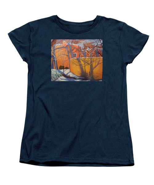 Adobe, Shadows And A Blue Window Women's T-Shirt (Standard Cut) by Art West