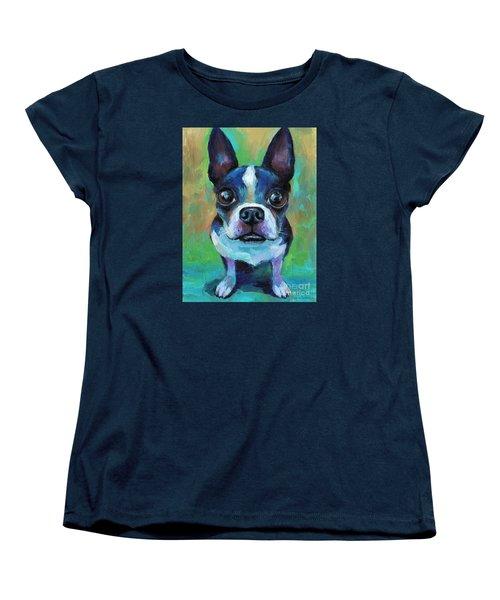 Adorable Boston Terrier Dog Women's T-Shirt (Standard Cut) by Svetlana Novikova