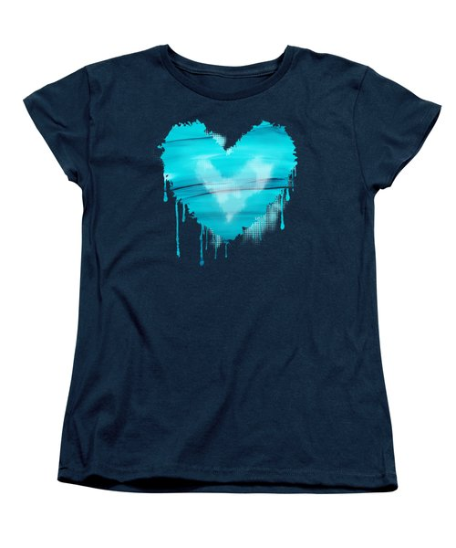 Women's T-Shirt (Standard Cut) featuring the painting Adrift In A Sea Of Blues Abstract by Nikki Marie Smith