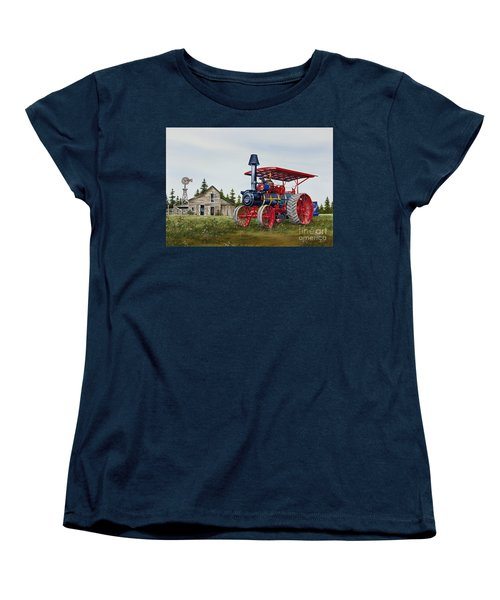 Women's T-Shirt (Standard Cut) featuring the painting Advance Rumely Steam Traction Engine by James Williamson
