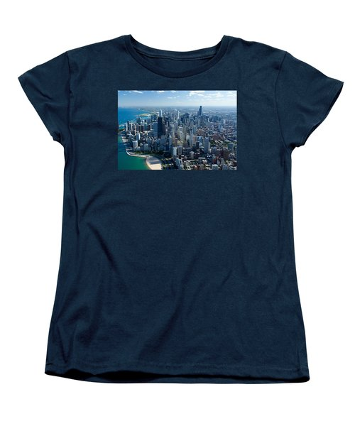 Aerial View Of A City, Lake Michigan Women's T-Shirt (Standard Cut) by Panoramic Images