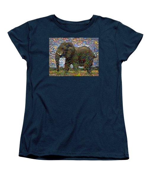 Women's T-Shirt (Standard Cut) featuring the mixed media African Elephant Wild Animal Mosaic by Paul Van Scott