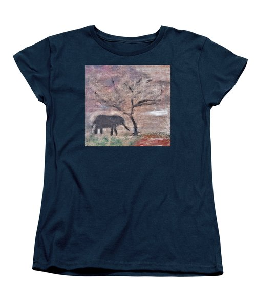 Women's T-Shirt (Standard Cut) featuring the painting African Landscape Baby Elephant And Banya Tree At Watering Hole With Mountain And Sunset Grasses Shr by MendyZ