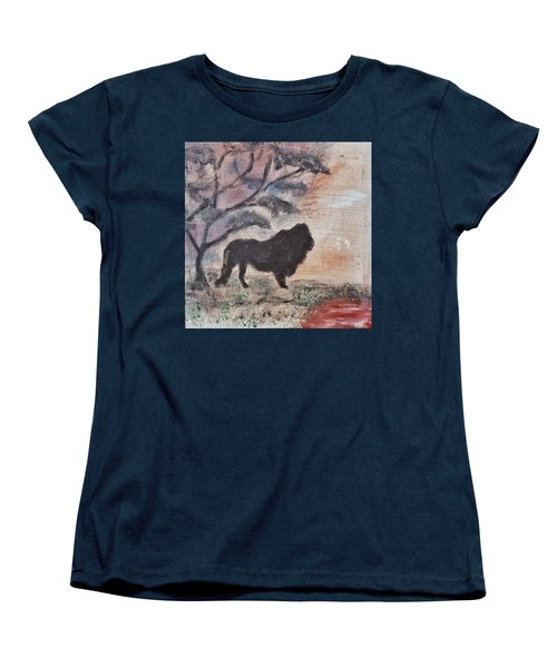 Women's T-Shirt (Standard Cut) featuring the painting African Landscape Lion And Banya Tree At Watering Hole With Mountain And Sunset Grasses Shrubs Safar by MendyZ