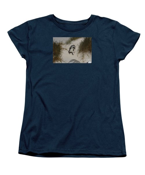 African Penguin On A Mission Women's T-Shirt (Standard Cut) by Bev Conover