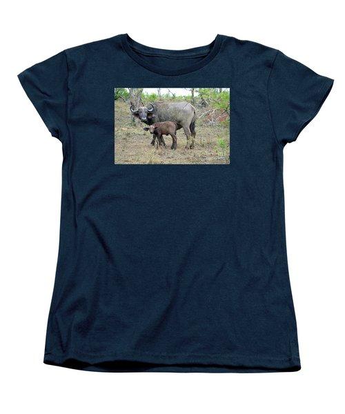 African Safari Mother And Baby Buffalo Women's T-Shirt (Standard Cut)