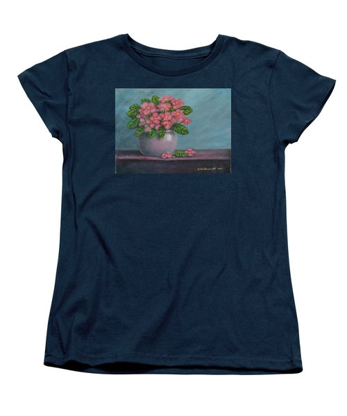Women's T-Shirt (Standard Cut) featuring the painting African Violets by Kathleen McDermott