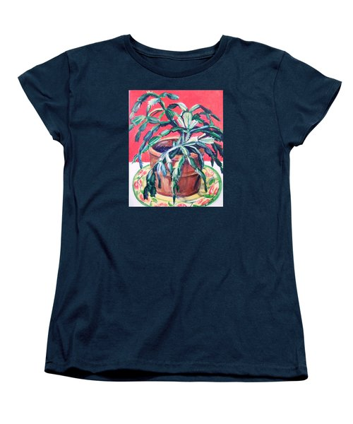 Women's T-Shirt (Standard Cut) featuring the painting Christmas Cactus by Laura Aceto