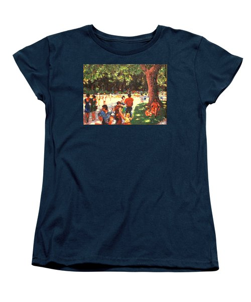 Women's T-Shirt (Standard Cut) featuring the painting Afternoon In The Park by Walter Casaravilla