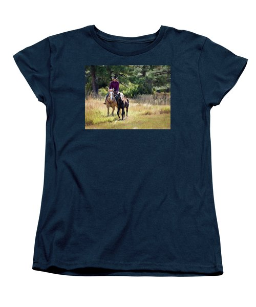 Afternoon Ride In The Sun - Cowgirl Riding Palomino Horse With Foal Women's T-Shirt (Standard Cut) by Nadja Rider