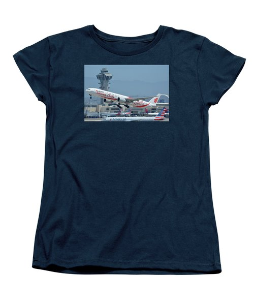 Women's T-Shirt (Standard Cut) featuring the photograph Air China Boeing 777-39ler B-2035 Smiling China Los Angeles International Airport May 3 2016 by Brian Lockett