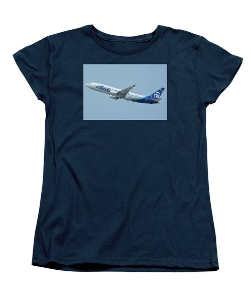 Women's T-Shirt (Standard Cut) featuring the photograph Alaska Boeing 737-890 N563as Los Angeles International Airport May 3 2016 by Brian Lockett