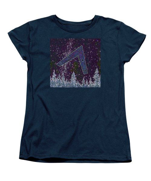 Women's T-Shirt (Standard Cut) featuring the painting Alien Skies Ufo by James Williamson