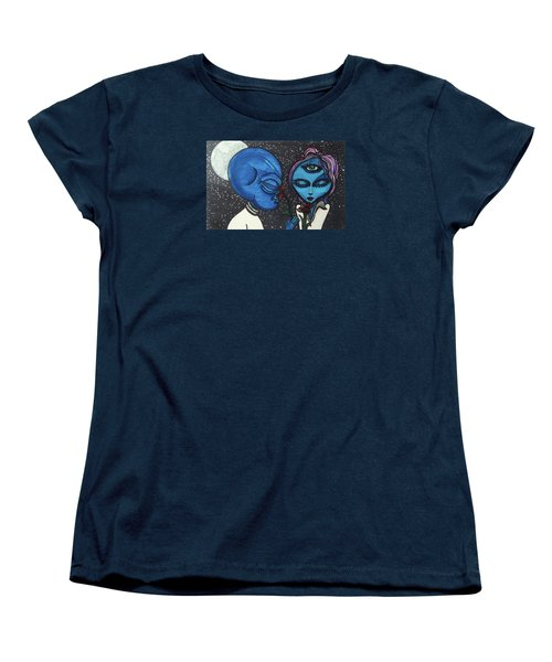 Women's T-Shirt (Standard Cut) featuring the drawing Aliens Love Flowers by Similar Alien
