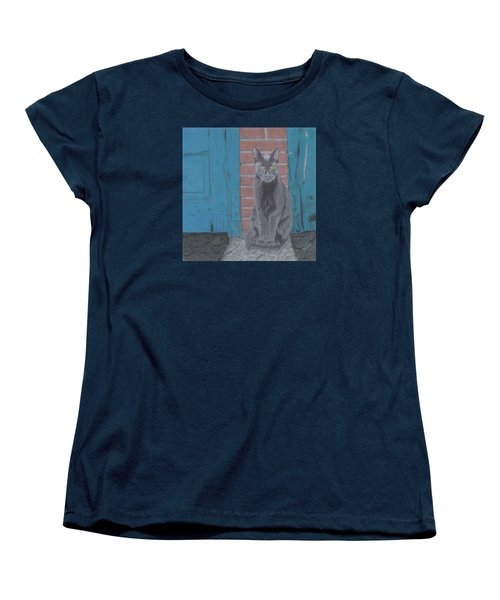 Women's T-Shirt (Standard Cut) featuring the drawing Alley Cat by Arlene Crafton