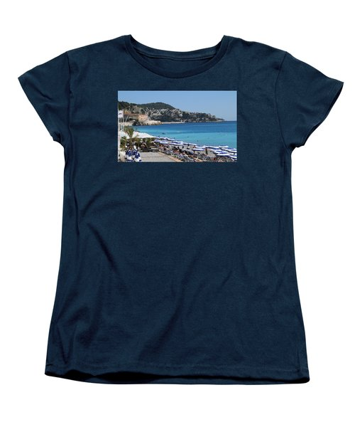 Women's T-Shirt (Standard Cut) featuring the painting Along The Beach In Nice Looking Over Toward Monaco by Rod Jellison