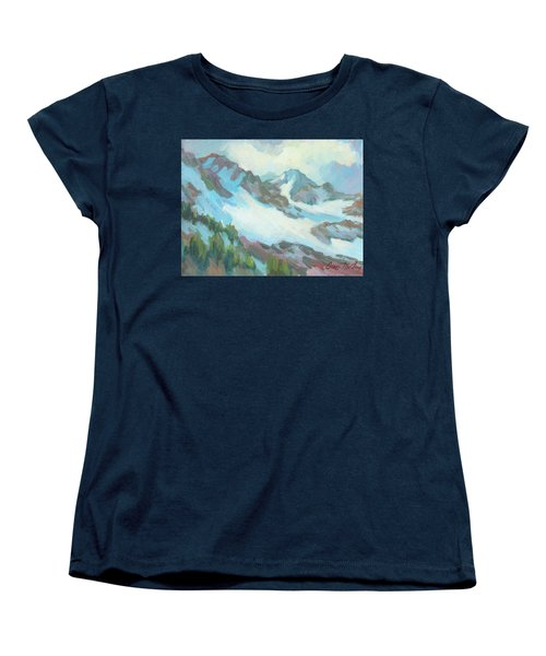 Women's T-Shirt (Standard Cut) featuring the painting Alps In Switzerland by Diane McClary