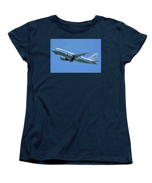 Women's T-Shirt (Standard Cut) featuring the photograph American Airbus A319-0112 N744p Piedmont Pacemaker Los Angeles International Airport May 3 20 by Brian Lockett