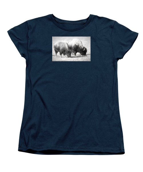 American Bison In Charcoal Women's T-Shirt (Standard Cut) by Linda Phelps