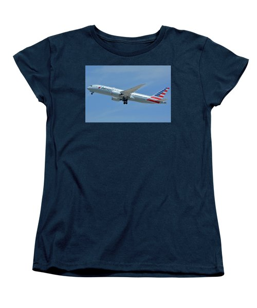Women's T-Shirt (Standard Cut) featuring the photograph American Boeing 787-8 N808an Los Angeles International Airport May 3 2016 by Brian Lockett